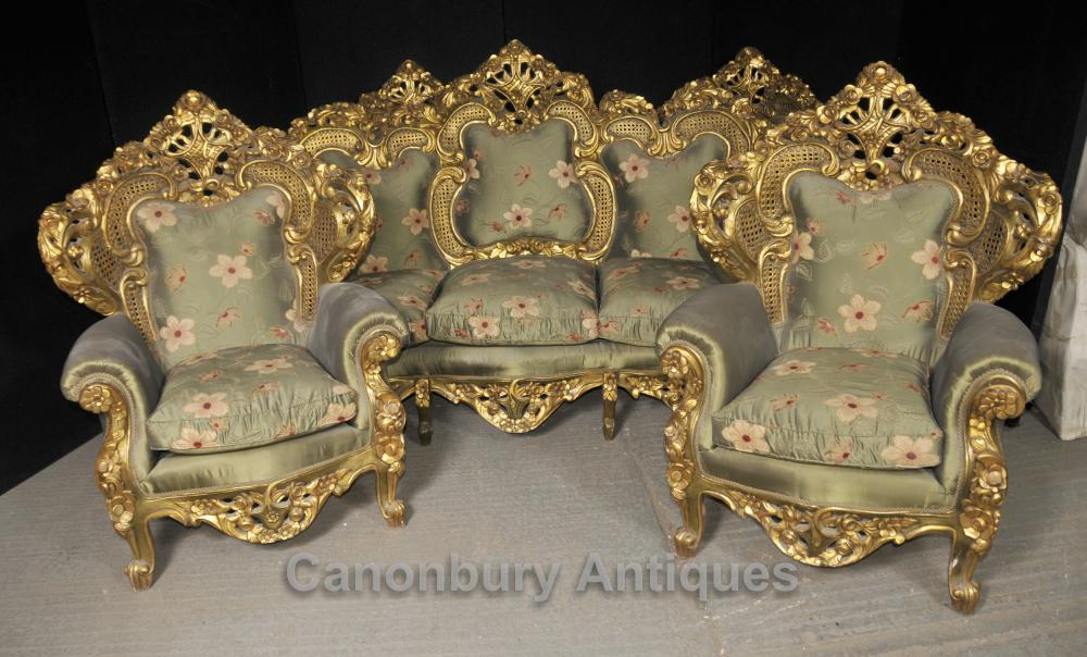 antique french rococo sofa suite gilt arm chairs lounge. Black Bedroom Furniture Sets. Home Design Ideas