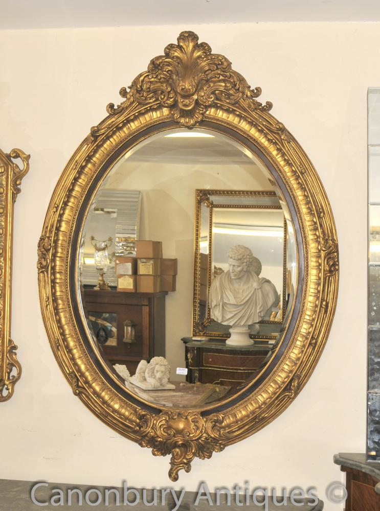 French Louis Xvi Gilt Oval Mirror Glass Pier Mirrors