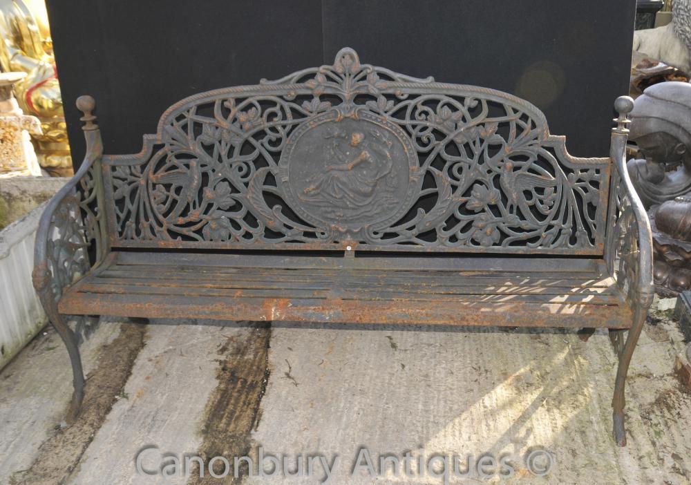 english victorian cast iron garden bench architectural seat. Black Bedroom Furniture Sets. Home Design Ideas