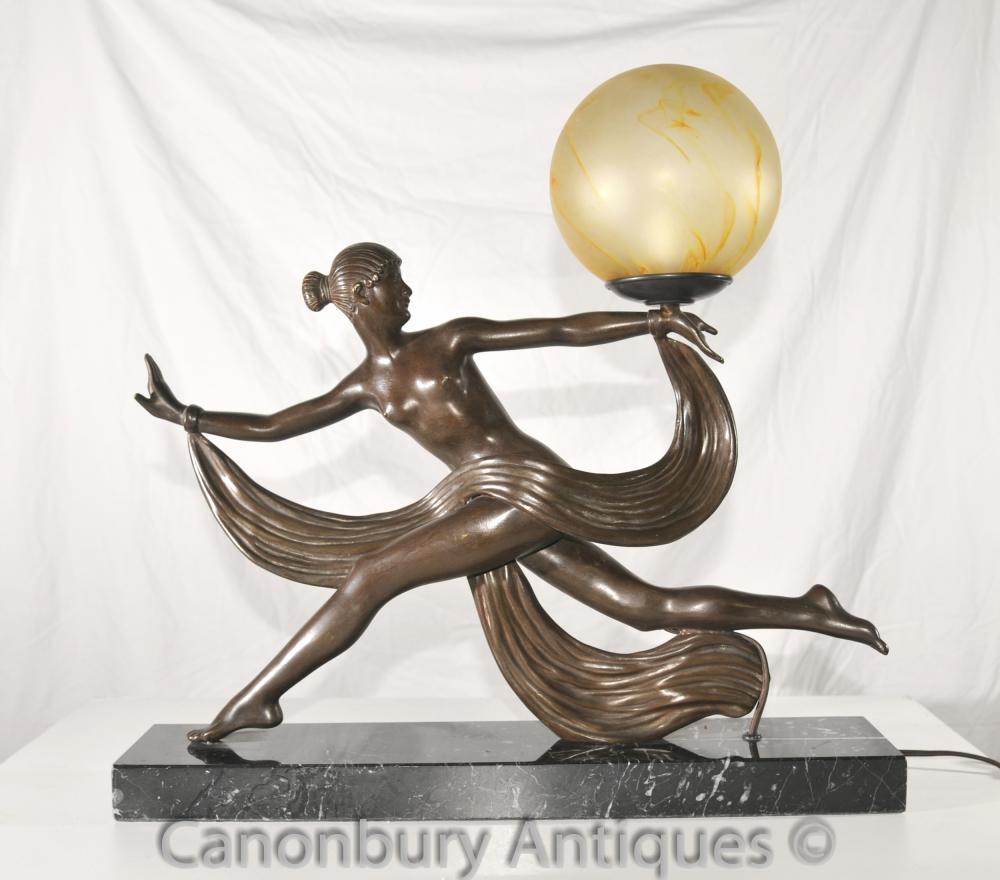 Original 1920s Antique Art Deco Dancer Lamp Light Bronze By