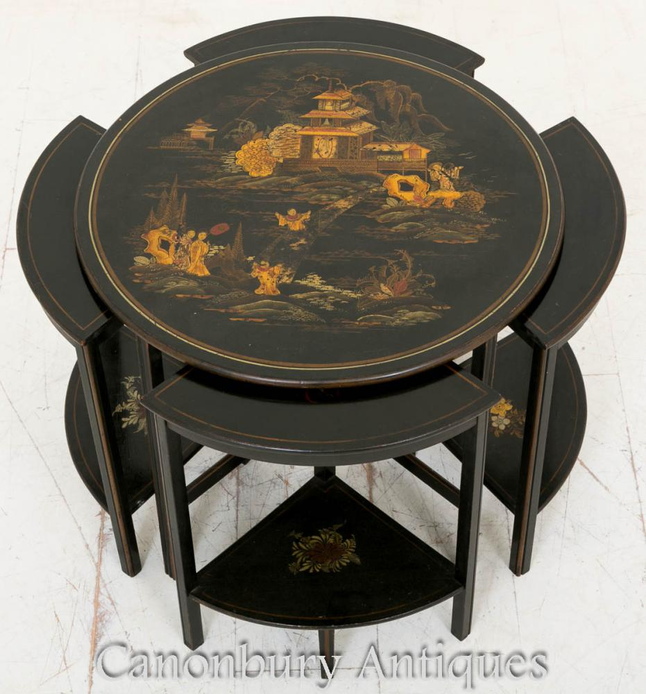 Antique Circular Chinoiserie Nest Of Tables Sides 1890 EBay