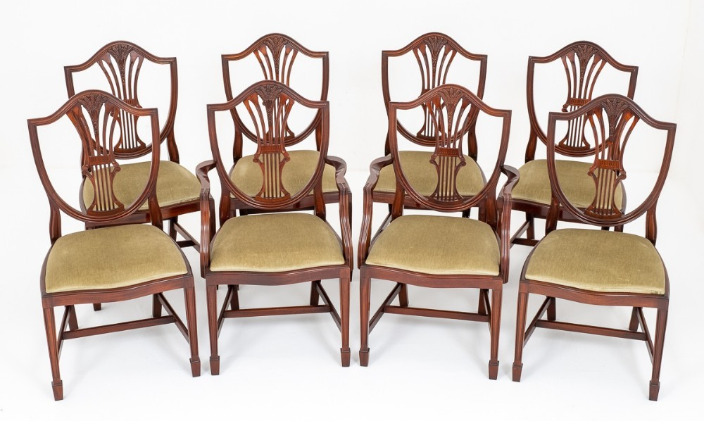 Dining Chairs Mahogany Shield Back Set