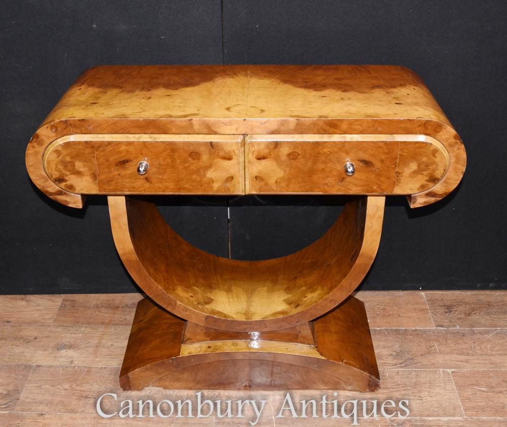 art deco walnut console table. Black Bedroom Furniture Sets. Home Design Ideas