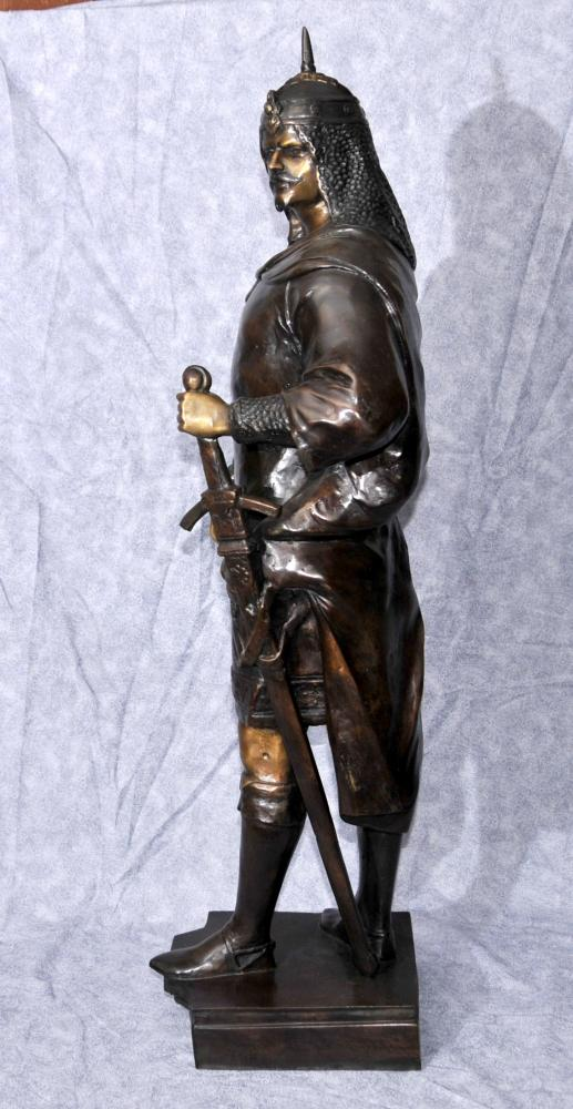 French Bronze Medieval Crusader Knight Statue Figurine