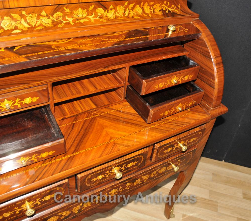 french louis xv roll top desk bureau writing table inlay furniture. Black Bedroom Furniture Sets. Home Design Ideas