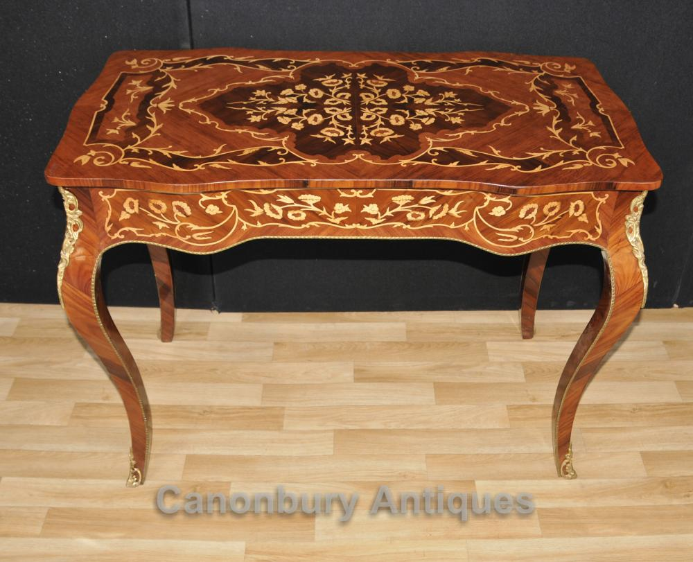 french louis xvi desk bureau plat writing table marquetry inlay. Black Bedroom Furniture Sets. Home Design Ideas