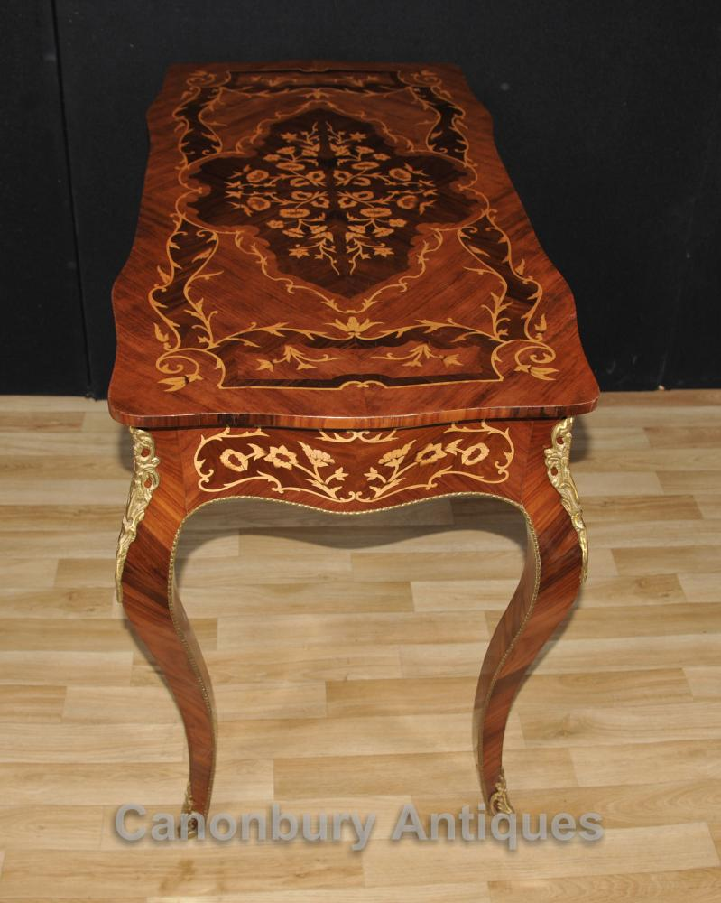 French Louis Xvi Desk Bureau Plat Writing Table Marquetry