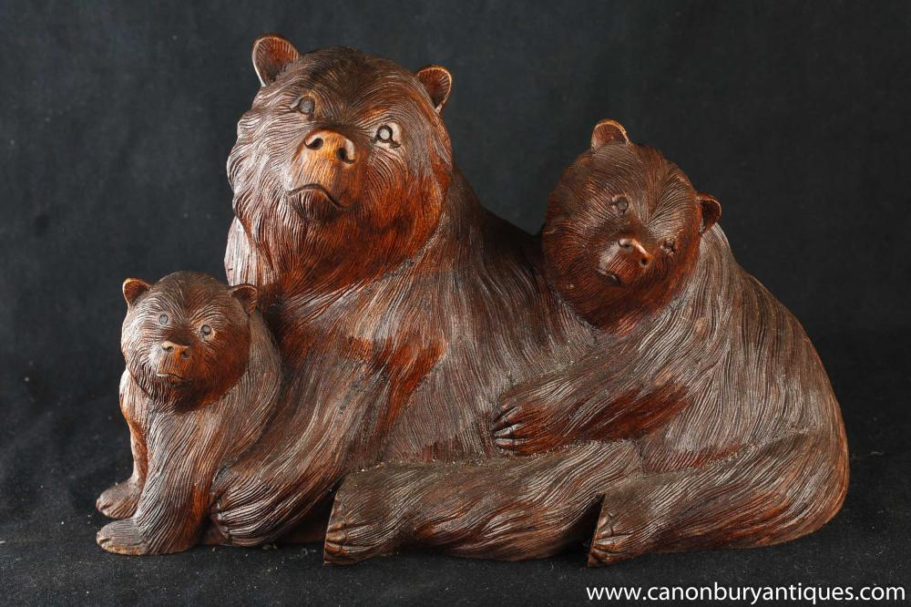 Attractive Carved Wooden Bear Statues - Wooden Designs BL13