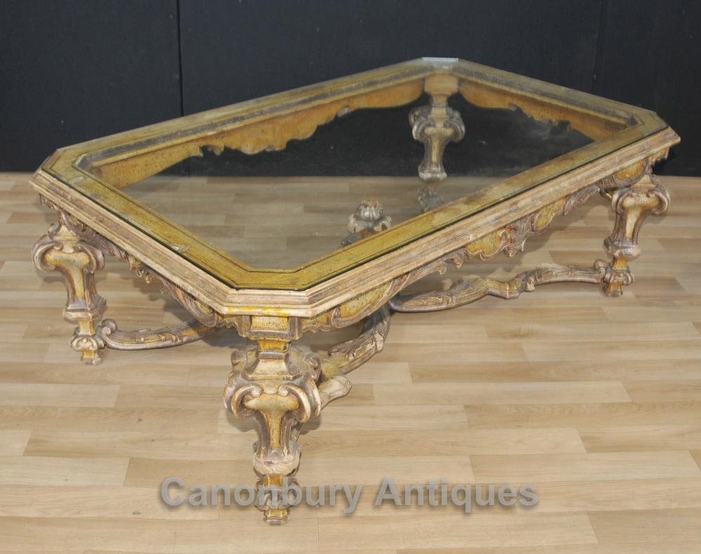 Italian Painted Baroque Coffee Table With Glass Top Tables Ebay