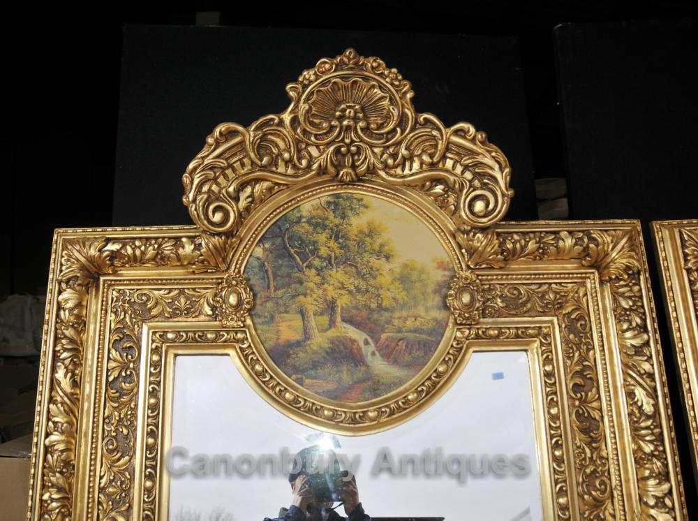 Pair Big French Gilt Pier Mirrors Painted Plaques Rococo