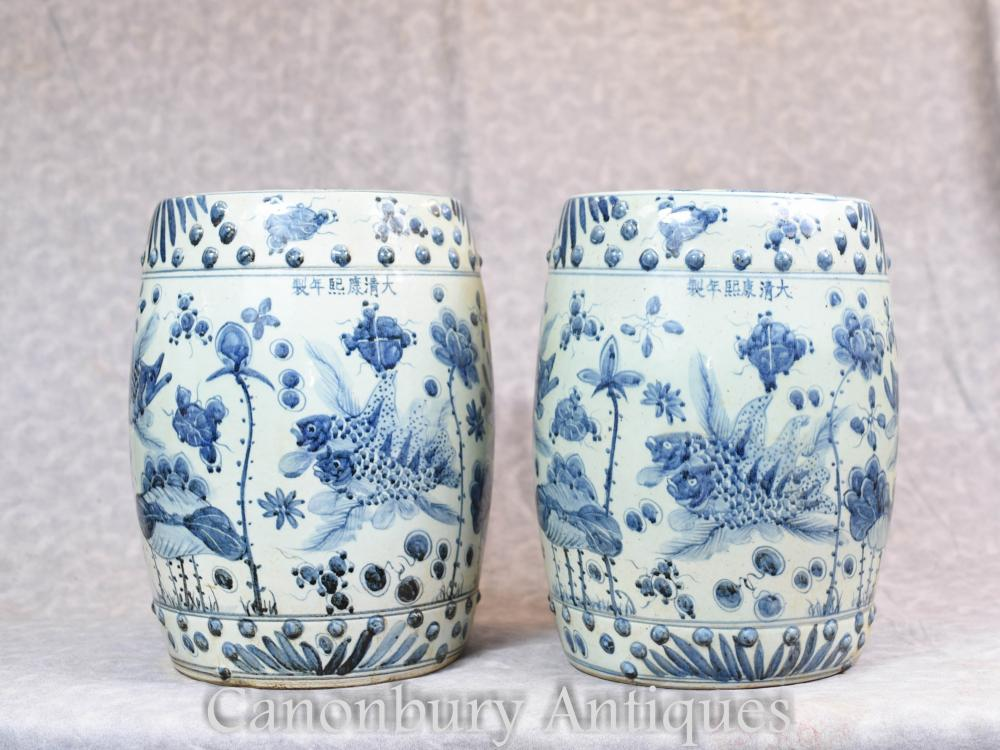 Cool Pair Chinese Blue And White Porcelain Garden Seats Stools Nanking Ebay Pdpeps Interior Chair Design Pdpepsorg