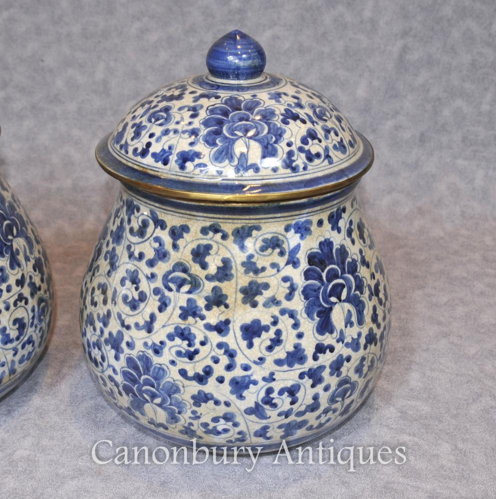 Pair Chinese Blue And White Porcelain Urns Lidded Kangxi
