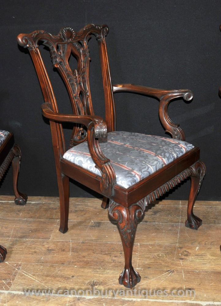 Set 12 Chippendale Mahogany Arm Chairs Dining Chair Ball