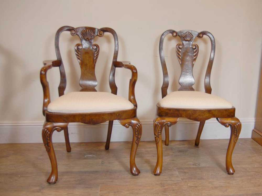 details about 10 english queen anne walnut dining chairs ann chair