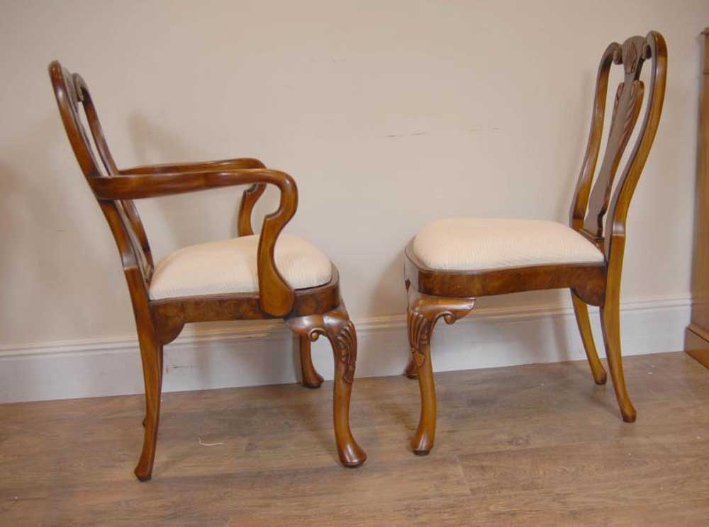 10 English Queen Anne Walnut Dining Chairs Ann Chair