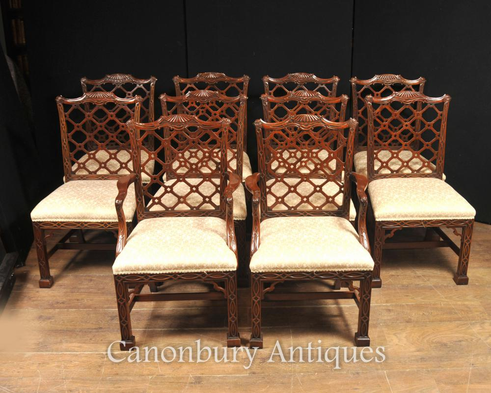 Chippendale Furniture 10 Hand Carved Mahogany Gothic Chippendale Dining Chairs English