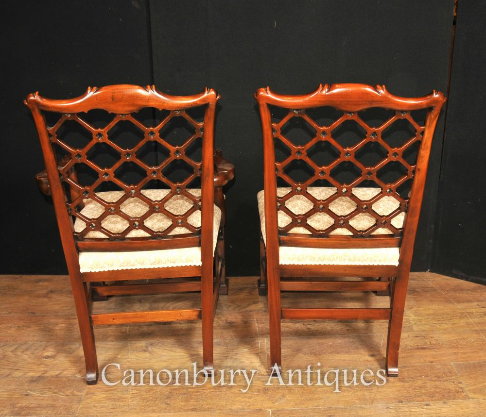 10 Hand Carved Mahogany Gothic Chippendale Dining Chairs English ...