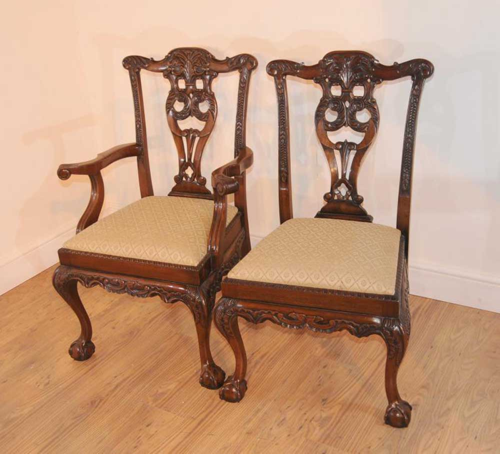 10 Mahogany Chippendale Dining Chairs Chair Carved