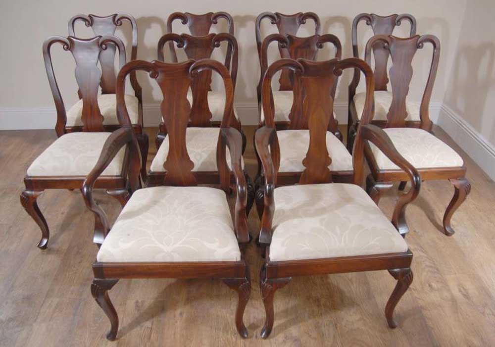 - Queen Anne Dining Chairs In Mahogany - Ten Chair Set EBay