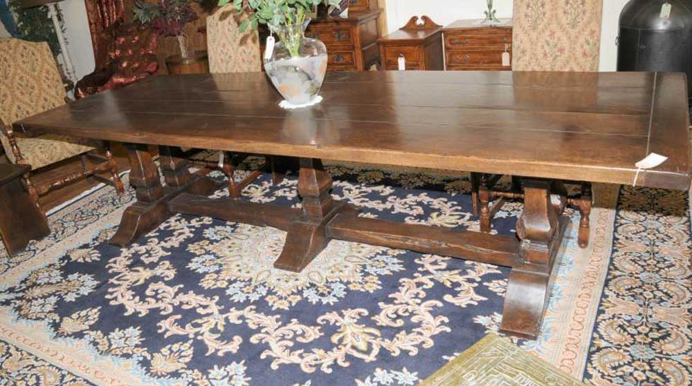 Large Oak Refectory Table Kitchen Dining Trestle Tables 10 Feet