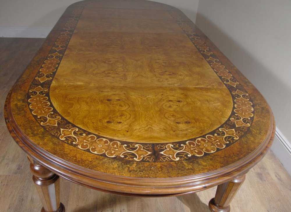 11 Ft Italian Marquetry Dining Table Walnut Extending