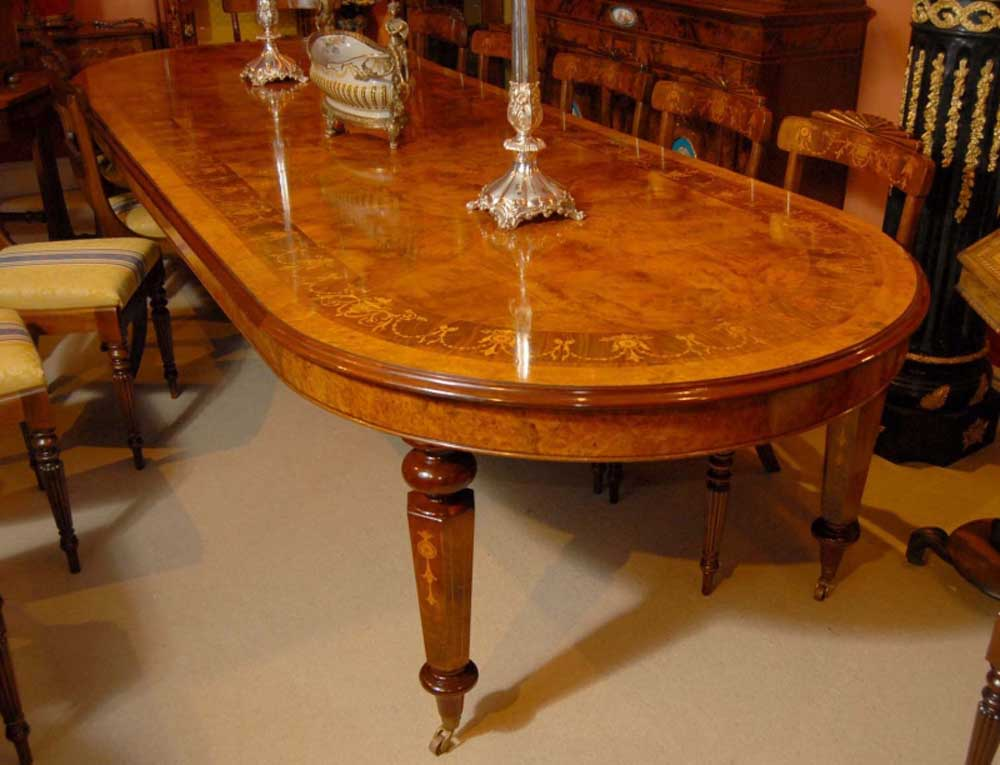 12 foot italian marquetry extending dining table for 12s table