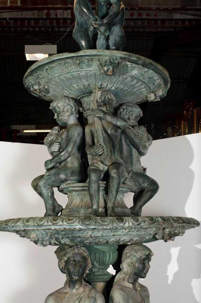 12ft Bronze Italian Fountain Cherub Maiden Garden Water