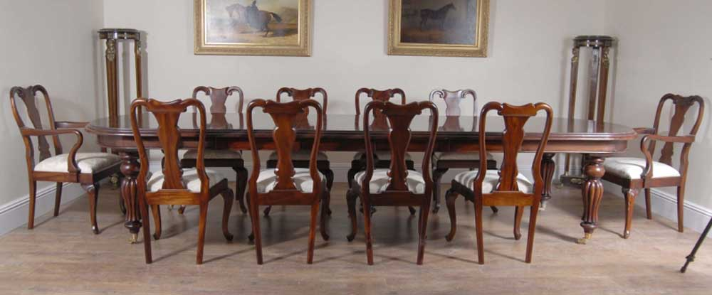 Mahogany Dining Set Victorian Table, Queen Anne Style Dining Room Setup