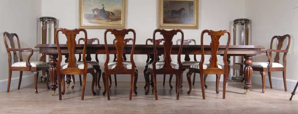 14 foot Victorian Dining Table & 10 Queen Anne Chairs ...