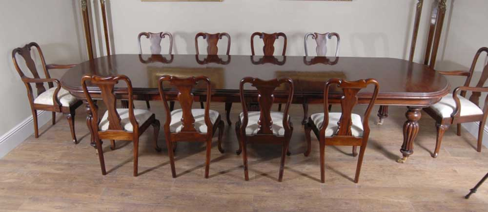 14 foot victorian dining table 10 queen anne chairs for 10 foot round table