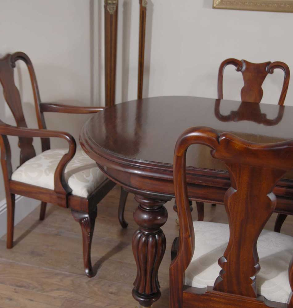 Dining Set For 10: 14 Foot Victorian Dining Table & 10 Queen Anne Chairs