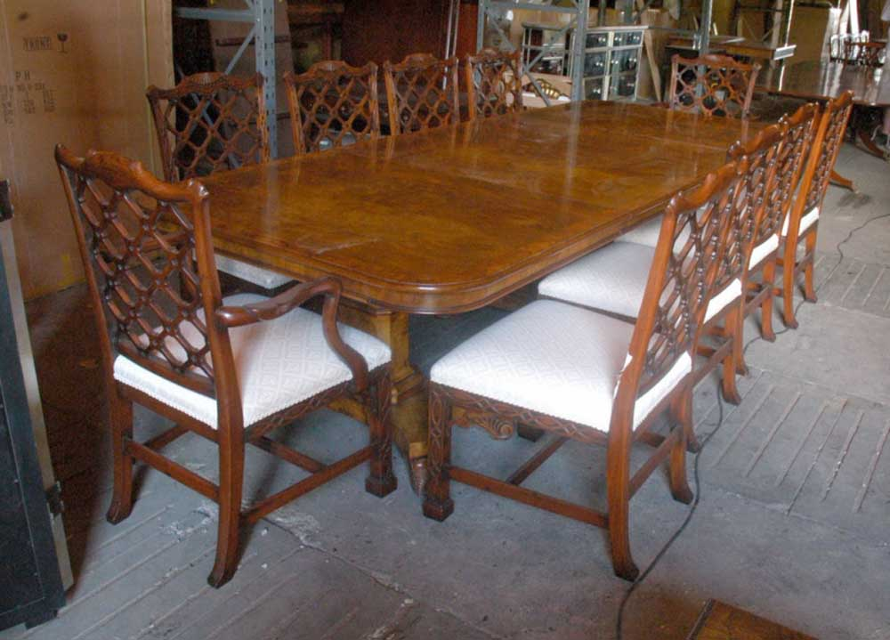 14 Ft Regency Dining Table Amp 8 Gothic Chippendale Chairs Set