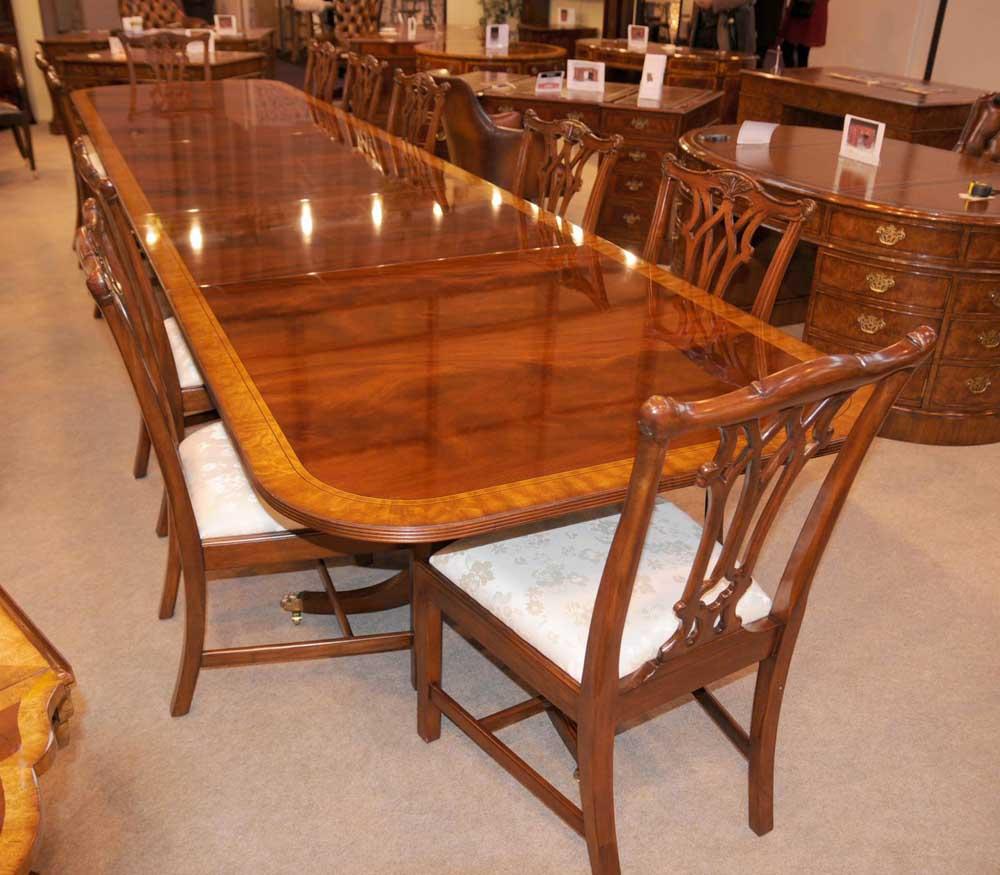Mahogany Dining Table Extending Regency Pedestal Tables 16 Feet Long Ebay