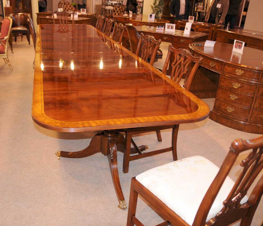 Regency Dining Table Triple Pedestal Mahogany Diner 16 Ft