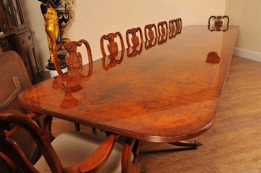 16ft Walnut Regency Pedestal Dining Table Seats 18 eBay