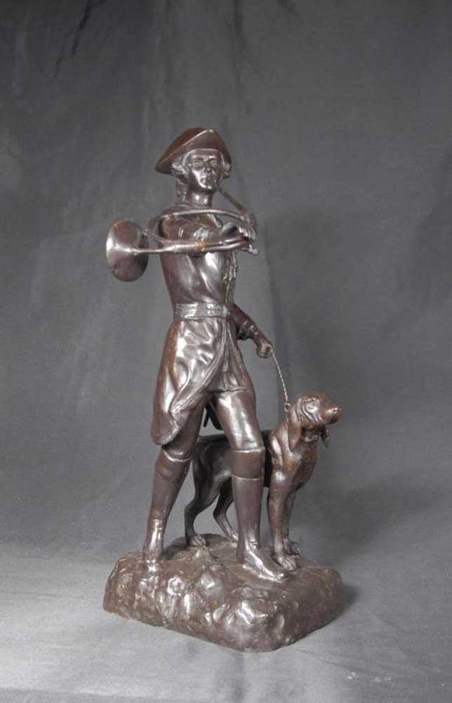 2 Ft French Bronze Bugle Huntsman Amp Dog Statue