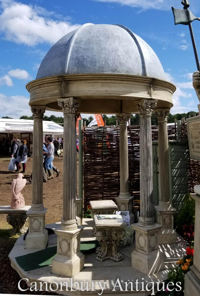 2 4m Stone Garden Temple Gazebo With Conical Dome