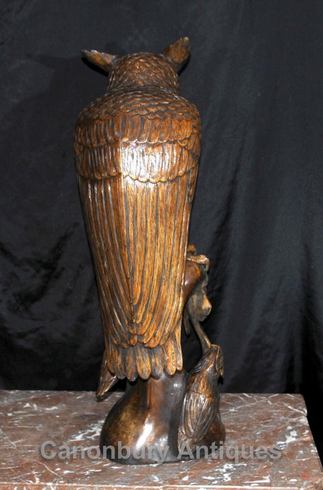 3 Ft Hand Carved Hawk Owl Black Forest Statue Birds Prey Eagle