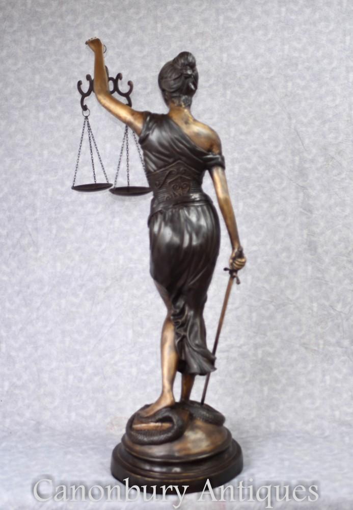 Bronze Statue Lady Justice Roman Figurine Goddess Blind