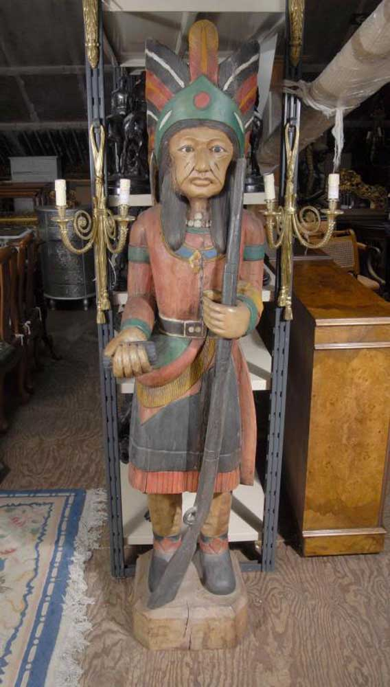 6 Ft Hand Carved Native American Indian Statue