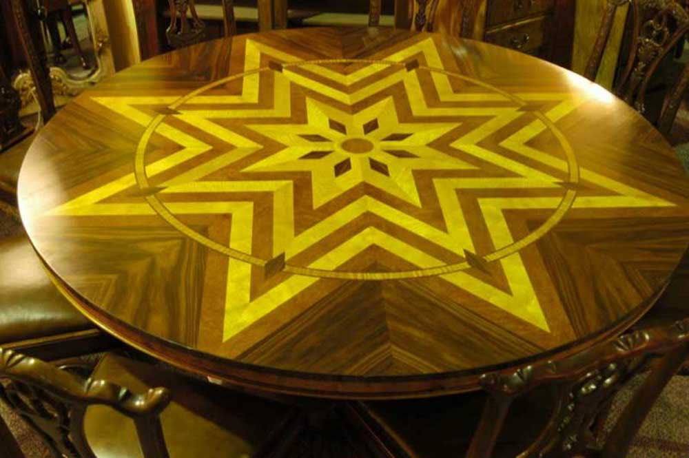 6ft art deco inlay round dining table tables for Table de nuit art deco