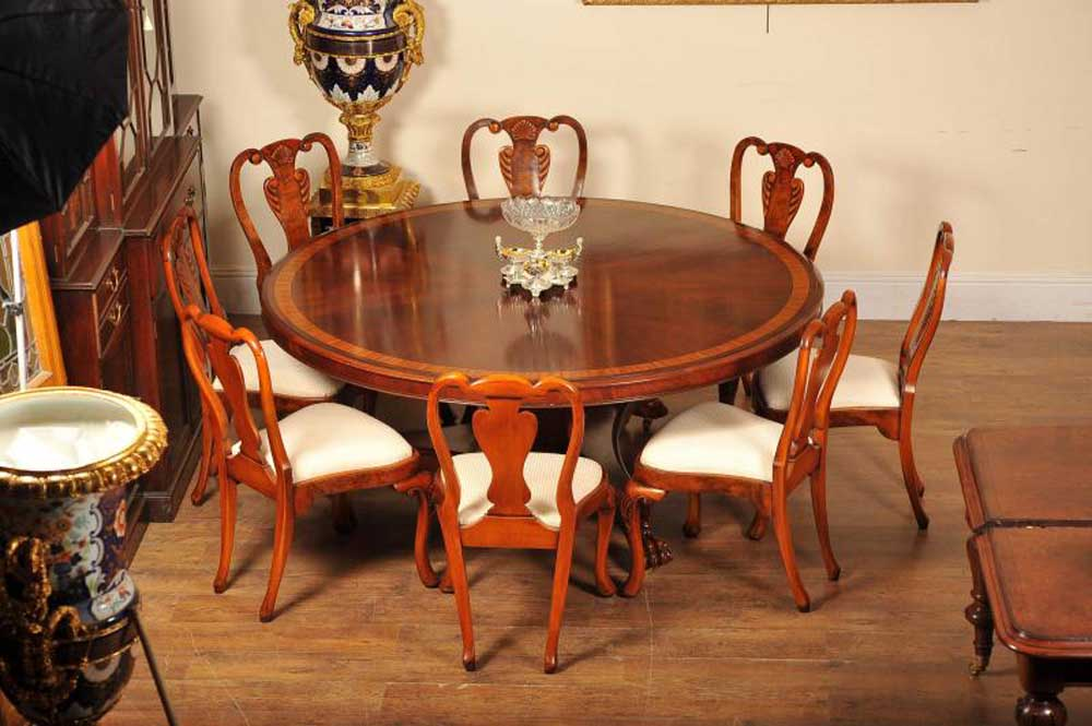 6ft flame mahogany regency dining table round ebay for 6ft round dining table