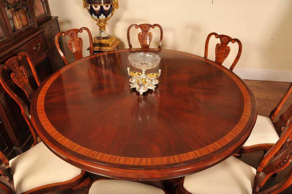 6ft flame mahogany regency dining table round for Round dining table for 6