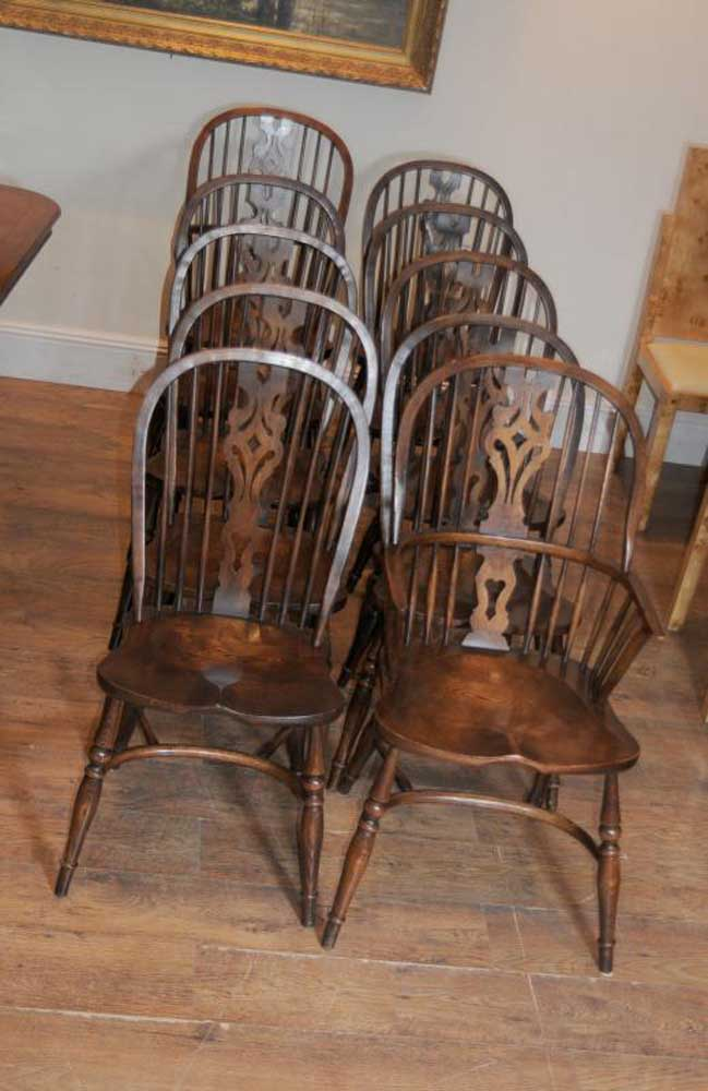 10 Antique Windsor Kitchen Dining Chairs Set | eBay