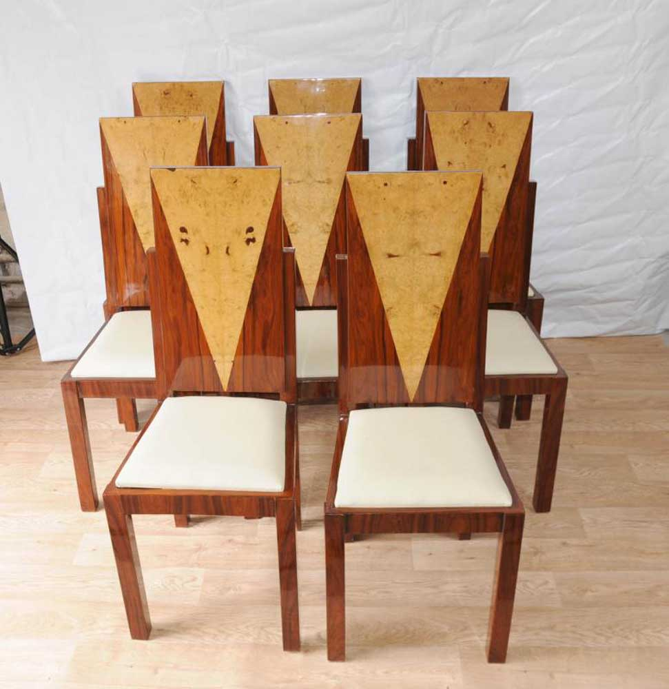8 Art Deco Dining Chairs Inlay Diners Furniture 1920s Vintage