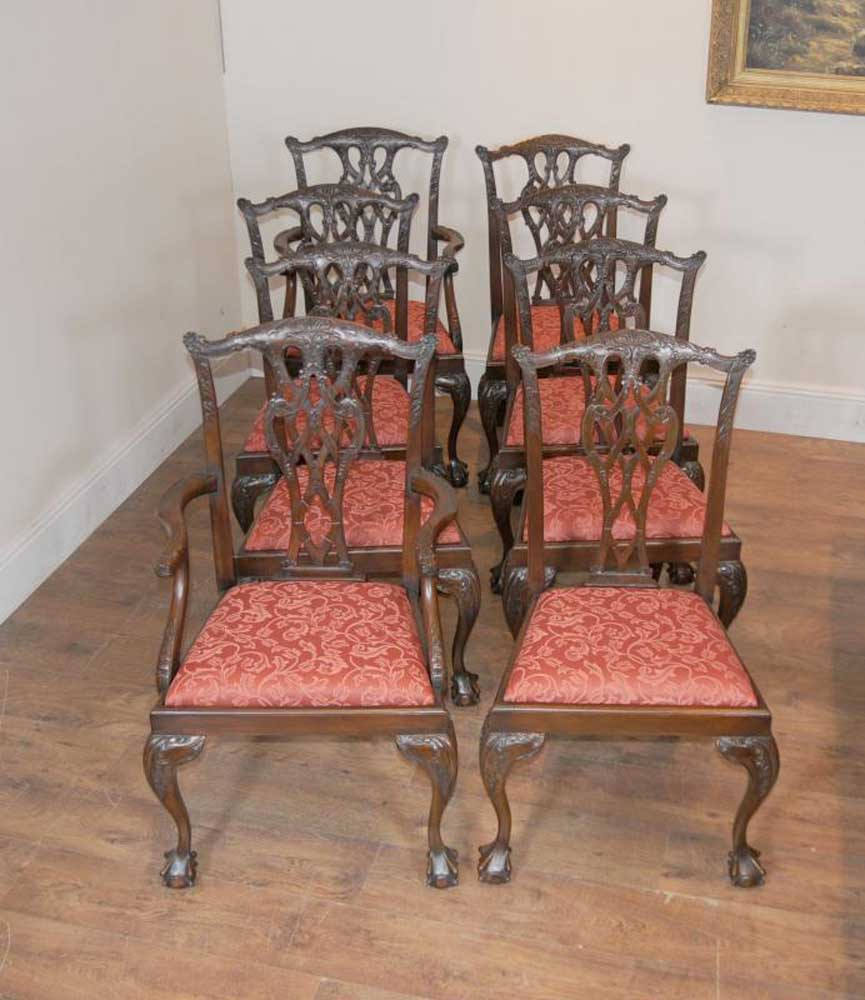 8 chippendale mahogany dining chairs lions head ebay for Dining room head chairs