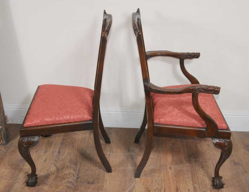 8 Chippendale Mahogany Dining Chairs Lions Head