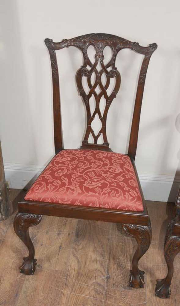 8 chippendale mahogany dining chairs lions head for Dining room head chairs