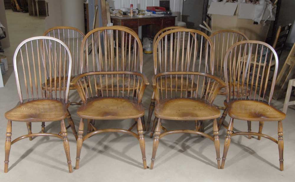 Set Windsor Chairs Classic English Farmhouse Kitchen Chair 8