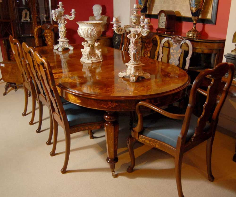 Dining Tables Com: 8 Foot Italian Marquetry Dining Table 8 Queen Anne Chairs